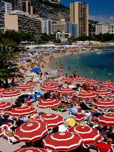 Overhead of Red Sun Umbrellas at Larvotto Beach on Busy Summer's Day, Monte Carlo, Monaco Photographic Print
