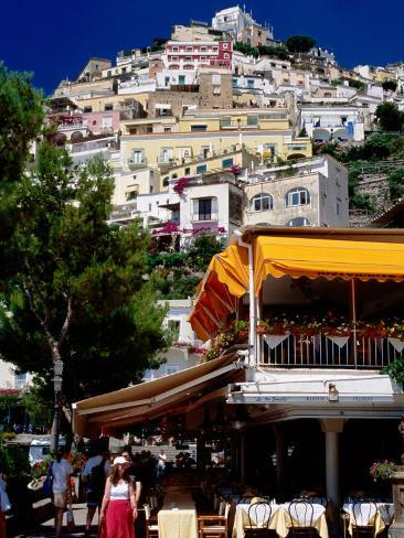 Waterfront Restaurant with Steep Terrace of Houses in Background, Positano, Italy Photographic Print