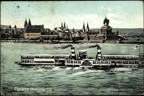 Dampfer Kaiserin Auguste Victoria, Deutsches Eck Stampa giclée