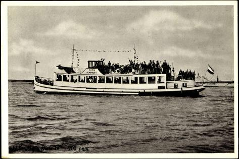 Dampfer M.S. Flevo Meer, Veluwemeer, Harderwijk Stampa giclée