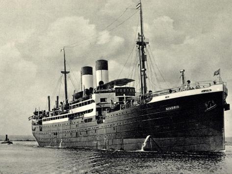 Dampfschiff Madrid, Norddeutscher Lloyd Bremen, Hsdg Stampa giclée