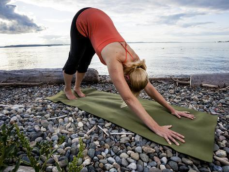 Downward Dog Yoga Pose On The Beach Of Lincoln Park West Seattle Washington Photographic Print Dan Holz Allposters Com