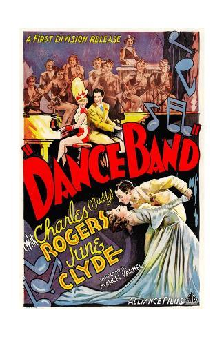 DANCE BAND, top and bottom from left: June Clyde, Charles 'Buddy' Rogers, 1935. Stretched Canvas Print