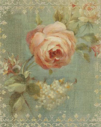 Rose on Sage Art Print