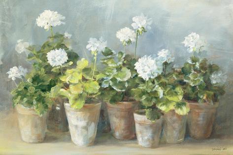 White Geraniums Premium Giclee Print