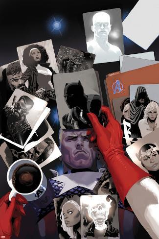 Avengers No.18 Cover: Photographs of Steve Rogers, Black Panther, Ghost Rider, Storm, and Blade Poster