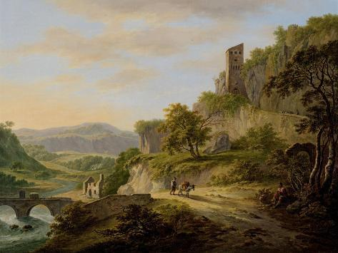 Landscape with Rising Sun with the Left a River That Flows to the Distance Art Print