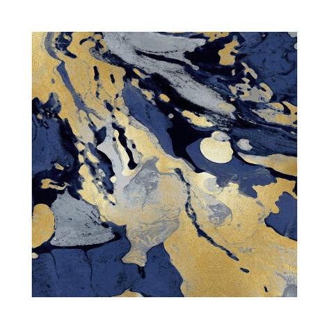 Marbleized in Gold and Blue I Giclee Print