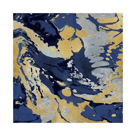 Marbleized in Gold and Blue II Giclee Print