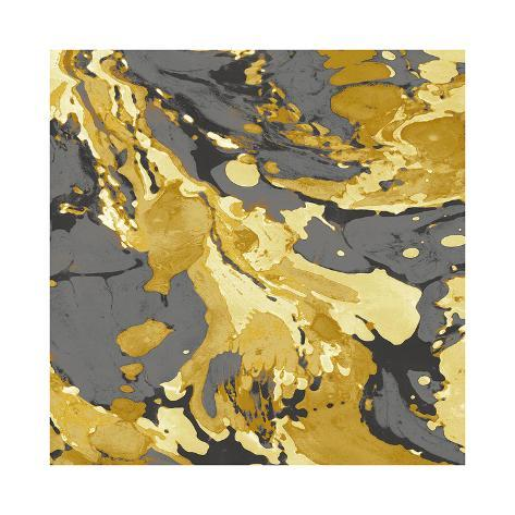 Marbleized in Gold and Grey I Giclee Print