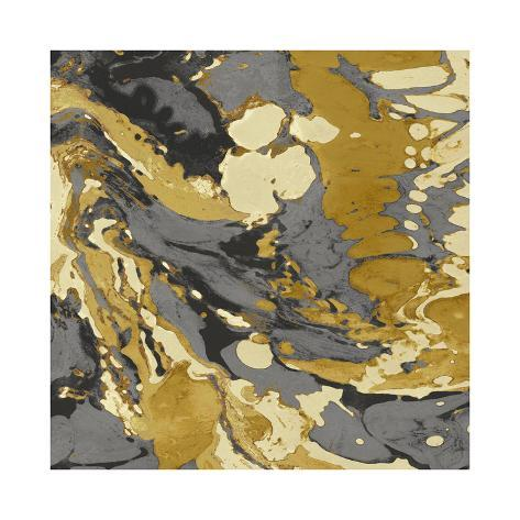Marbleized in Gold and Grey II Giclee Print
