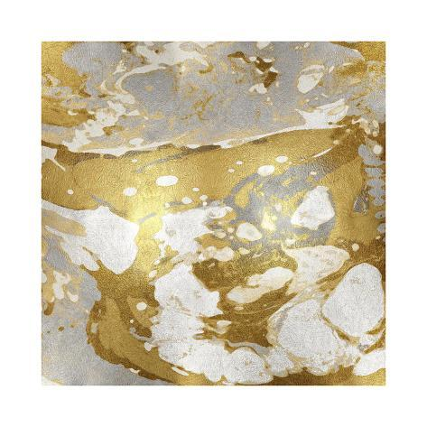 Marbleized in Gold and Silver I Giclee Print