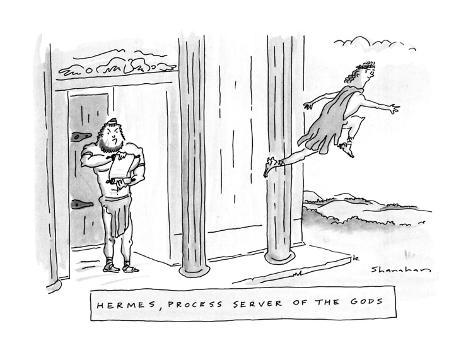 Hermes, Process Server Of The Gods - New Yorker Cartoon Premium Giclee Print