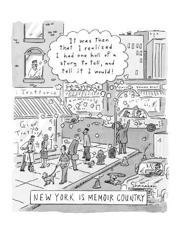 New York is Memoir Country - New Yorker Cartoon Premium-giclée-vedos