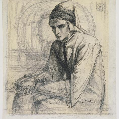 Dante in Meditation Holding a Pomegranate, C.1852 (Pen and Ink and Pencil on Paper) Giclee Print