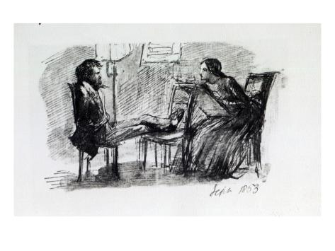 Rossetti Being Sketched by Elizabeth Siddal, September 1853 Giclee Print
