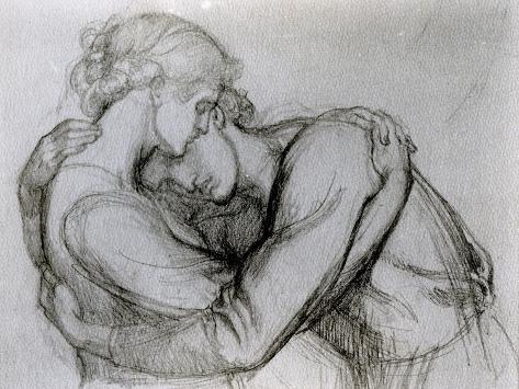 Study for 'The Blessed Damozel', C.1876 (Graphite on Paper) Stampa giclée