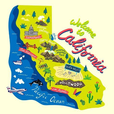 Cartoon Map of California.Travels Posters by Daria_I at AllPosters.com