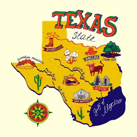 Cartoon Map of Texas.Travels Art Print