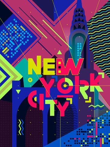 Flat Typography Poster. New York City Art Print
