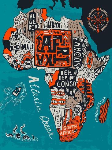 Illustrated Map of Africa Art Print