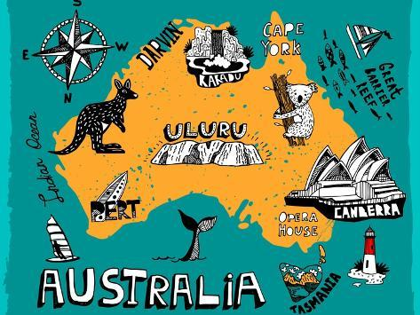 Illustrated Map of Australia Premium Giclee Print