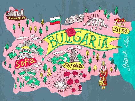 Illustrated Map of Bulgaria. Travels Art Print