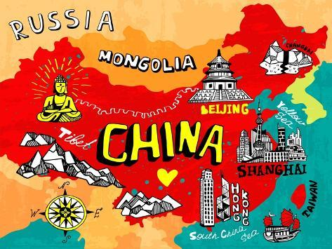 Illustrated Map of China Art Print