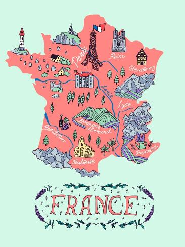 Travel Map Of France.Illustrated Map Of France Travel Art By Daria I At Allposters Com