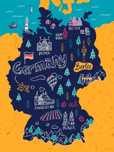 Illustrated Map of Germany Art Print