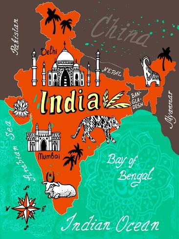 Illustrated Map of India Art Print