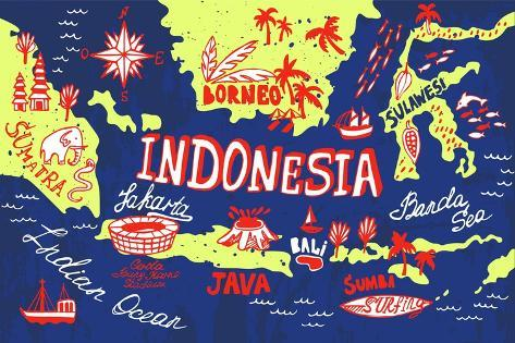 Illustrated Map of Indonesia Art Print