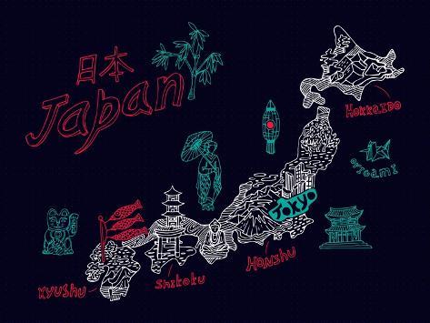 Illustrated Map of Japan Art Print