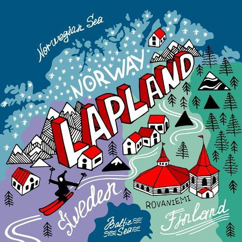 Illustrated Map of Lapland Art Print