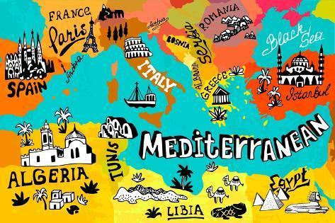 Illustrated Map of Mediterranean Art Print