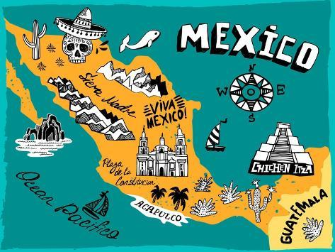 Illustrated Map of Mexico with the Main Attractions Art Print