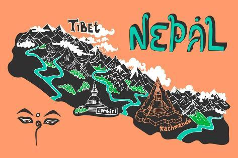 Illustrated Map of Nepal Art Print