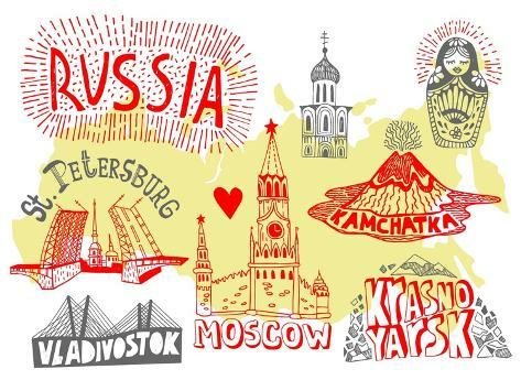 Illustrated Map of Russia Art Print