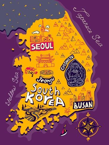 Illustrated Map of South Korea Art Print