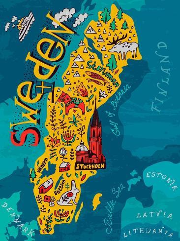 Illustrated Map of Sweden Premium Giclee Print