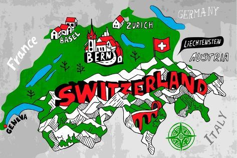 Illustrated Map of Switzerland Art Print