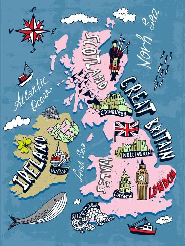 Illustrated Map of the UK and Ireland Art Print