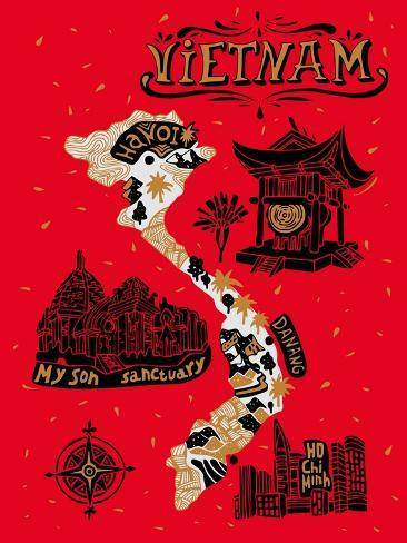 Illustrated Map of Vietnam Art Print