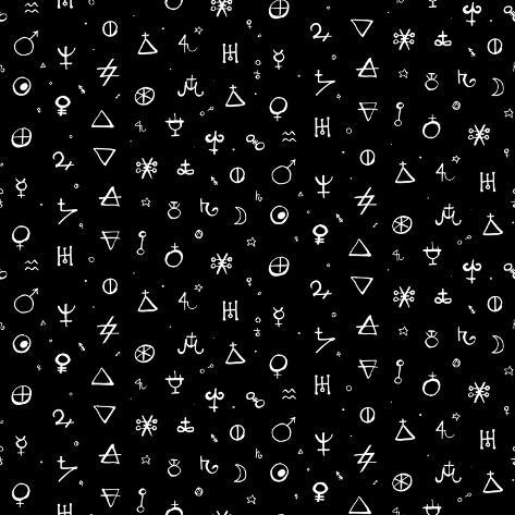 Vector Geometric Pattern with Alchemy Symbols, Shapes and Planets Logos in Small Size. Abstract Occ Art Print