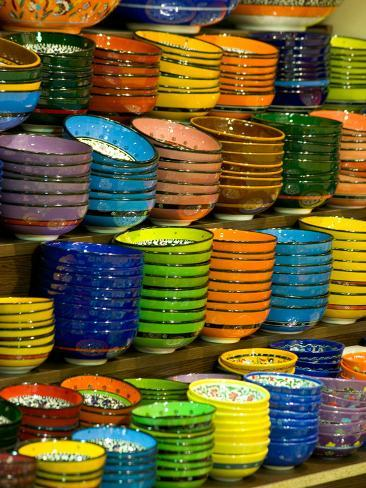 Bowls and Plates on Display, for Sale at Vendors Booth, Spice Market, Istanbul, Turkey Photographic Print