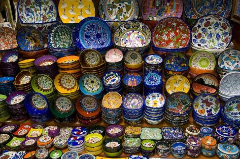 Colorful Dishes for Sale in the Spice Market Old Town Istanbul Photographic Print
