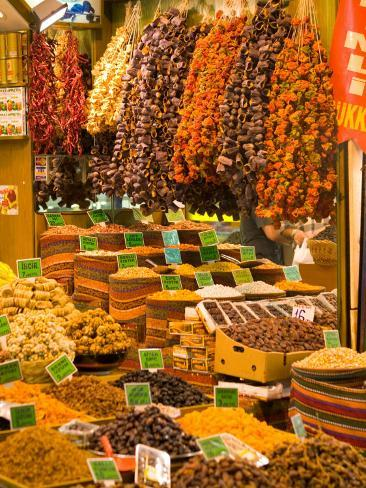 Dried Fruit and Spices for Sale, Spice Market, Istanbul, Turkey Photographic Print