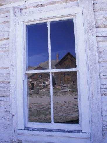 Ghost Town, Old Building with Window Reflection, Bannock, Montana, USA Valokuvavedos