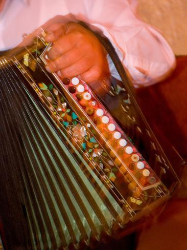 Musician Playing Accordion for Turkish Dancers, Turkey Photographic Print