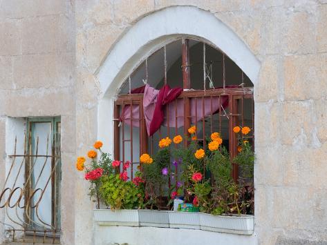 Windows and Flowers in Village, Cappadoccia, Turkey Photographic Print